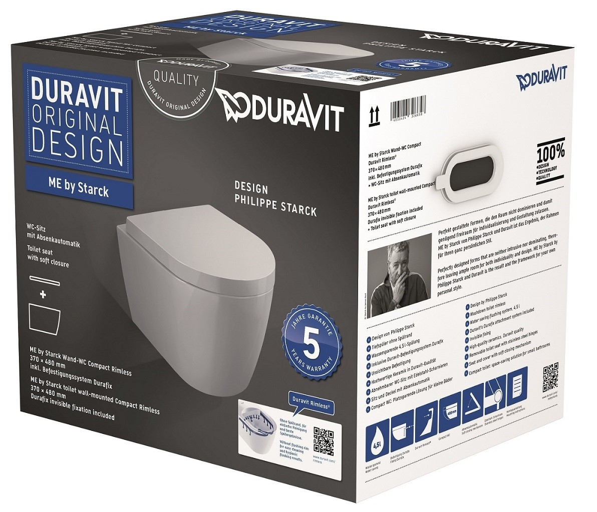 duravit me by starck wall mounted washdown toilet 480 x. Black Bedroom Furniture Sets. Home Design Ideas