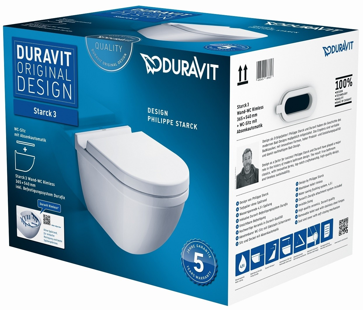 duravit starck 3 wall mounted washdown toilet set rimless white without wondergliss. Black Bedroom Furniture Sets. Home Design Ideas